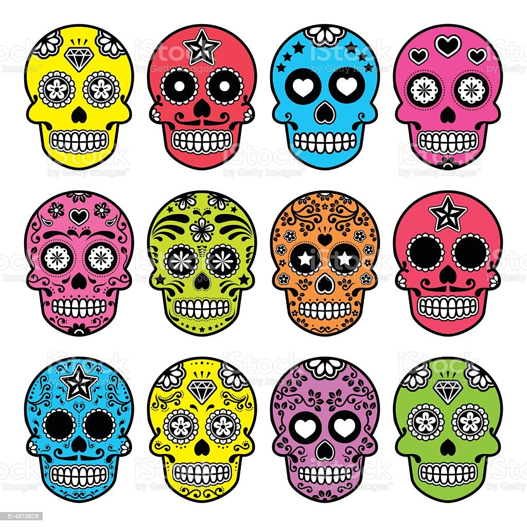 Halloween Mexican sugar skull, Dia de los Muertos icons set vector art illustration