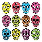 Halloween Mexican sugar skull, Dia de los Muertos icons set