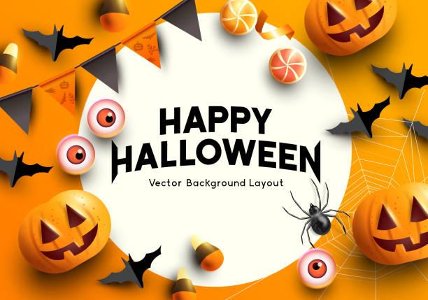 illustrazioni stock, clip art, cartoni animati e icone di tendenza di oggetti per feste vettoriali mockup di halloween - halloween