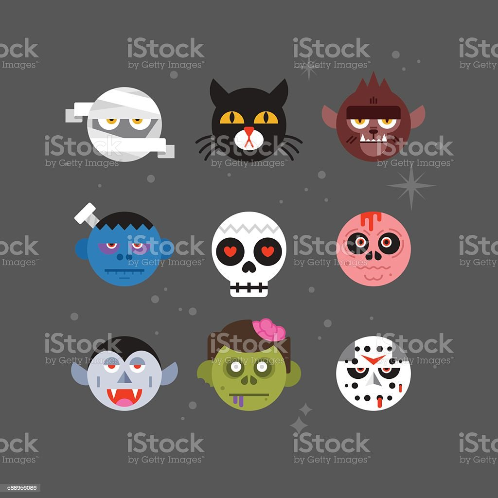 Halloween monster avatar design for graphic and web
