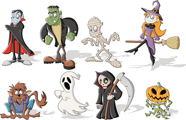 Halloween monster characters Funny cartoon classic halloween monster characters. EPS 10. werewolf stock illustrations