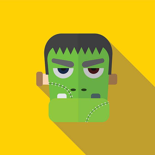 halloween monster flat icon illustration - frankenstein stock-grafiken, -clipart, -cartoons und -symbole