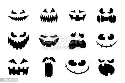 Halloween monster jack lantern pumpkin carved glowing scary face set on white background. Holiday cartoon character collection for celebration design. Vector cartoon spooky illustration