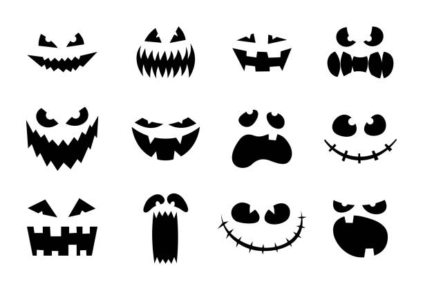 halloween monster jack lantern pumpkin carved glowing scary face set on white background. holiday cartoon character collection for celebration design. vector spooky illustration - antropomorficzny stock illustrations