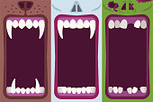 Halloween banners set with opening mouths ready to bite of werewolf, vampire and zombie in flat cartoon style