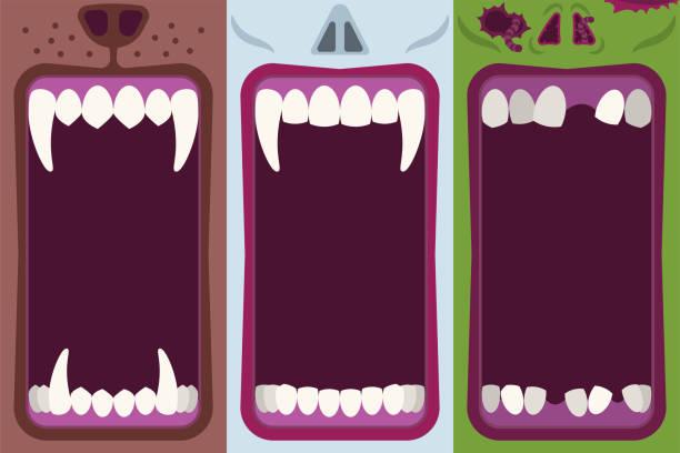 illustrazioni stock, clip art, cartoni animati e icone di tendenza di set di striscioni per la bocca dei mostri di halloween - thriller