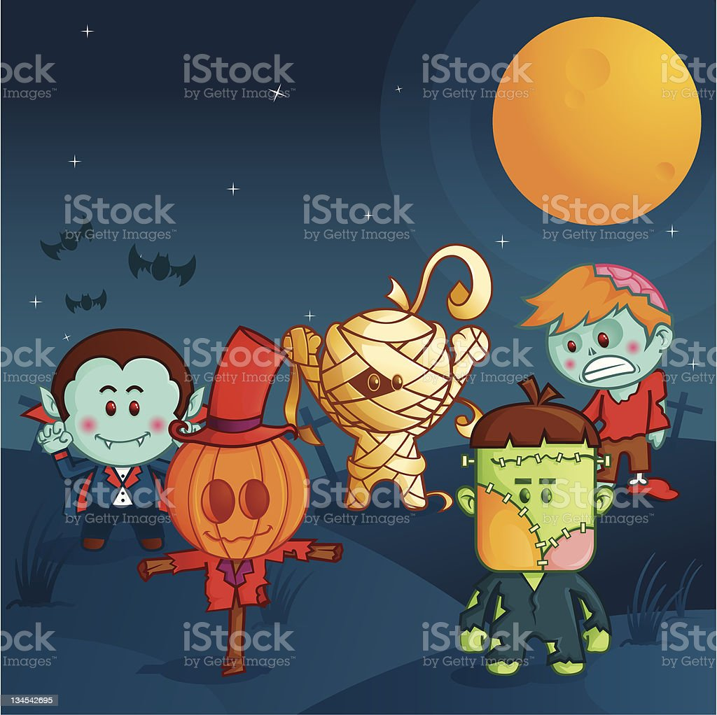 halloween monster parade royalty-free stock vector art