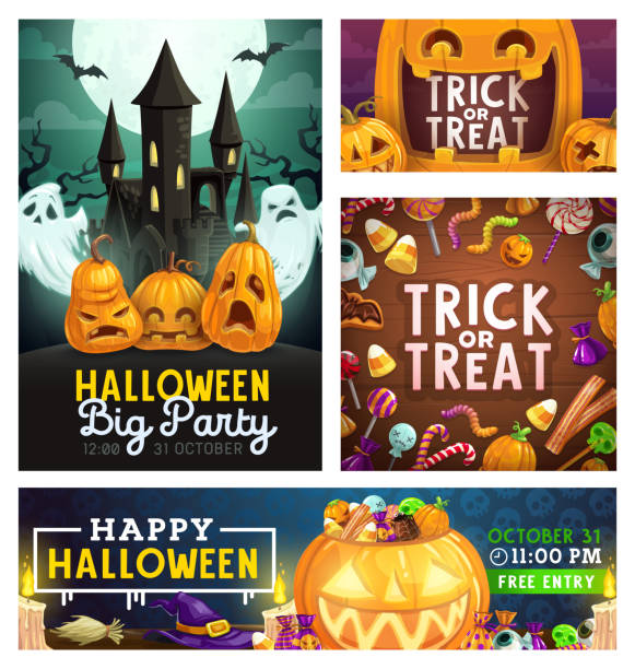 halloween monster party, trick or treat candies - halloween candy stock illustrations
