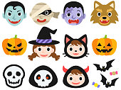 Illustration icon set of monsters for Halloween
