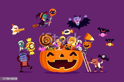 istock Halloween monsters filling carved pumpkin with candies and sweets 1279616528