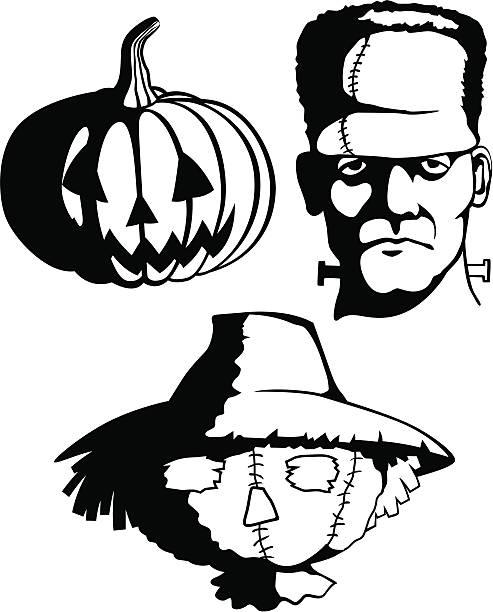 halloween monsters im schatten - frankenstein stock-grafiken, -clipart, -cartoons und -symbole