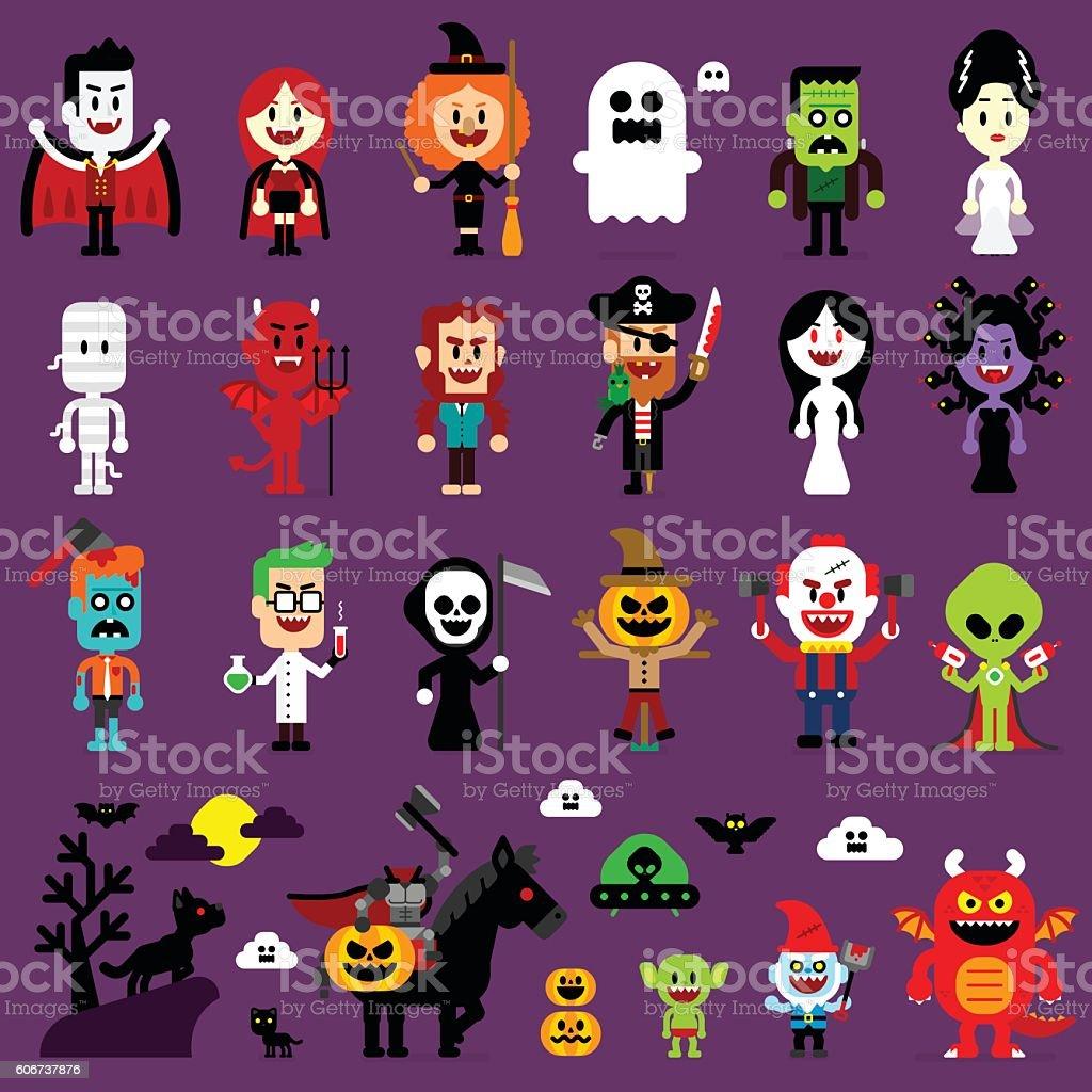 Halloween Monsters Mash Characters vector art illustration