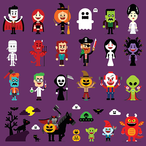 halloween monsters mash characters - cartoon monsters stock illustrations, clip art, cartoons, & icons