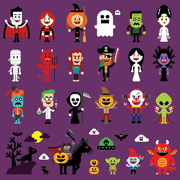 halloween monsters mash characters - cartoon monster stock-grafiken, -clipart, -cartoons und -symbole