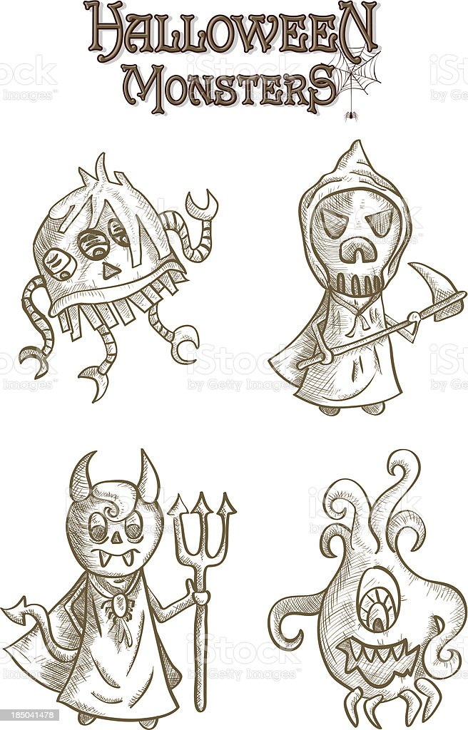 Halloween monsters scary sketch style cartoons set EPS10 file. royalty-free halloween monsters scary sketch style cartoons set eps10 file stock vector art & more images of bizarre