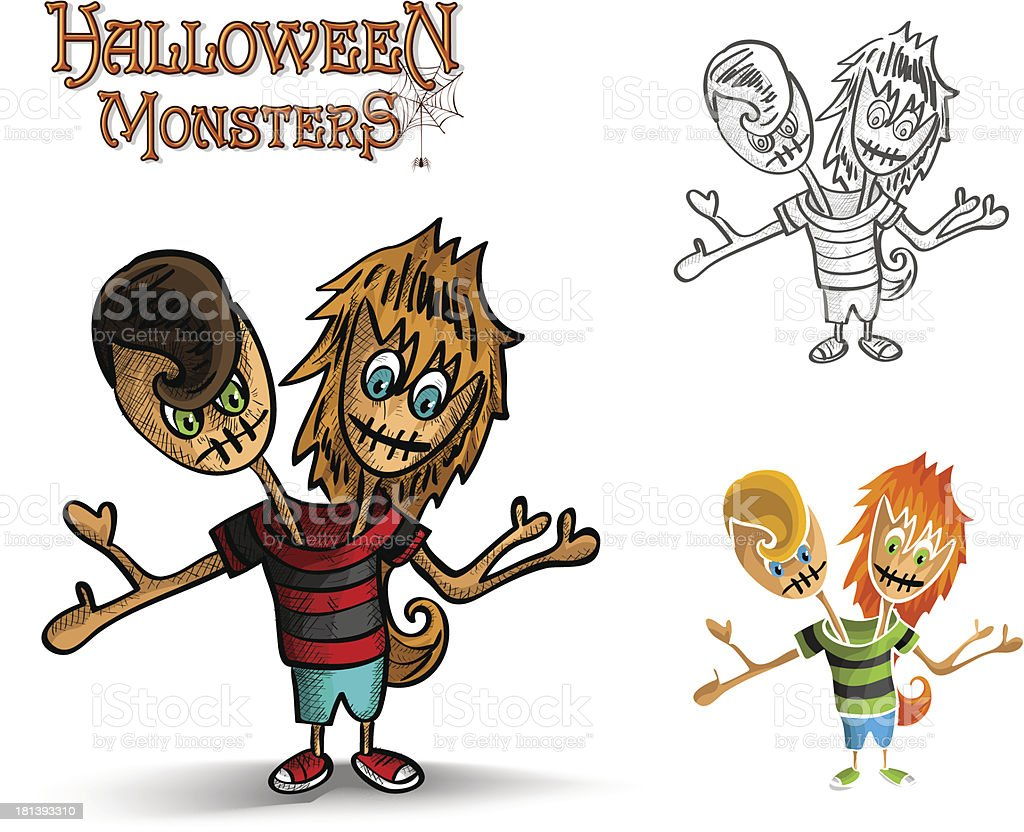 Halloween monsters spooky two heads zombie EPS10 file royalty-free stock vector art
