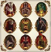 Set of classic horror heroes