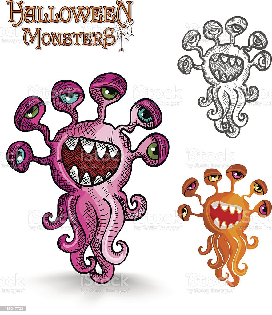Halloween monsters weird eyes squid EPS10 file. royalty-free stock vector art