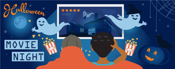 136 Watching A Scary Movie Illustrations & Clip Art - iStock