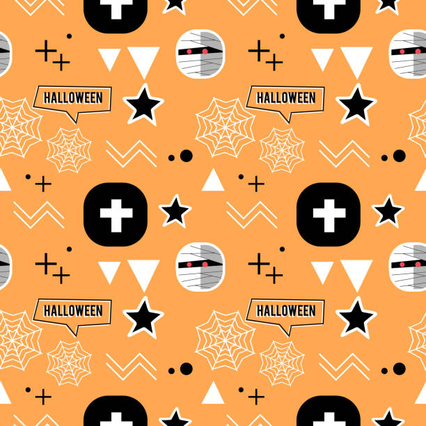 Halloween mummy and geometric cute seamless pattern Halloween mummy and geometric cute seamless pattern. vector illustration for fashion textile print and wrapping with festive design. tarantula stock illustrations