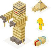 Halloween Mummy Icons Set Pyramid Ankh Sarcophagus Trick Treat Flat