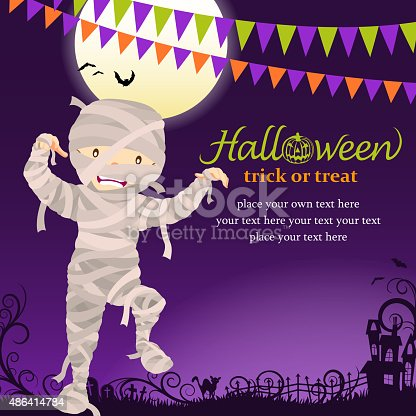 Teenage boy dress up mummy costume on Halloween asking for candy or other treats.