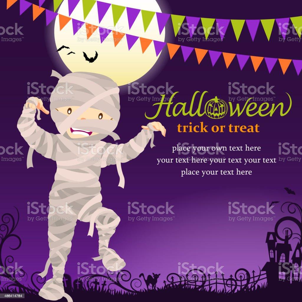 Halloween mummy party vector art illustration