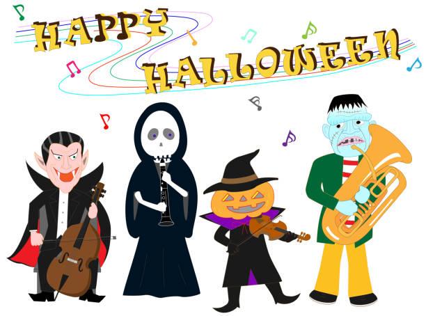 halloween music – artystyczna grafika wektorowa