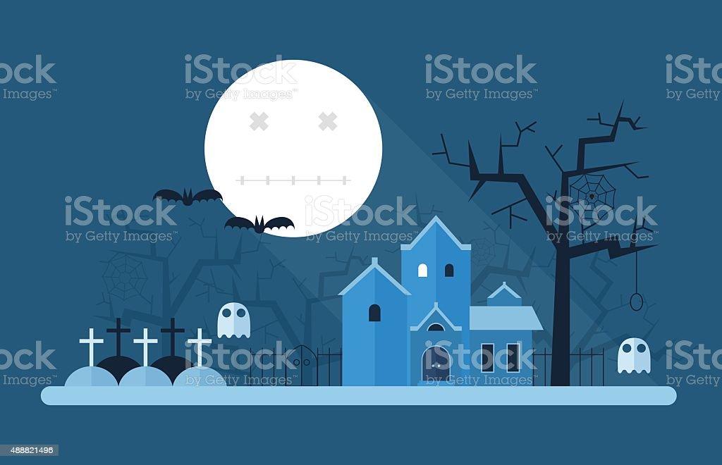 Halloween Mystic Landscape vector art illustration