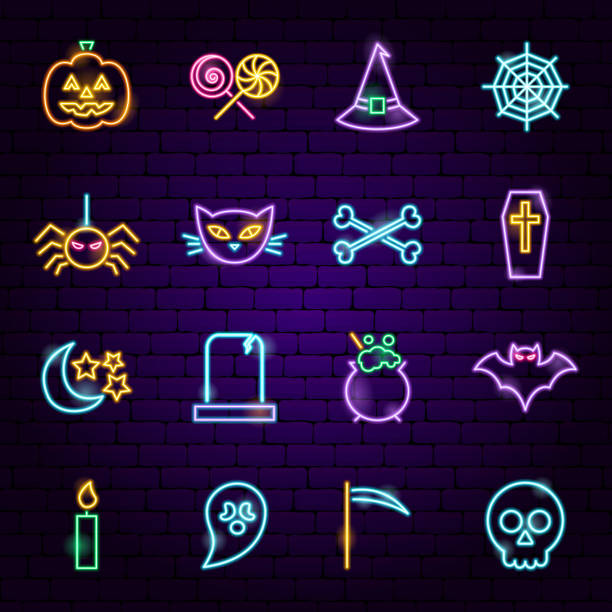 Halloween Neon Icons Halloween Neon Icons. Vector Illustration of Trick or Treat Scary Symbols. ghost icon stock illustrations