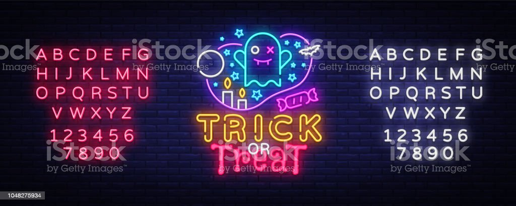 halloween neon sign vector trick or treat halloween design template