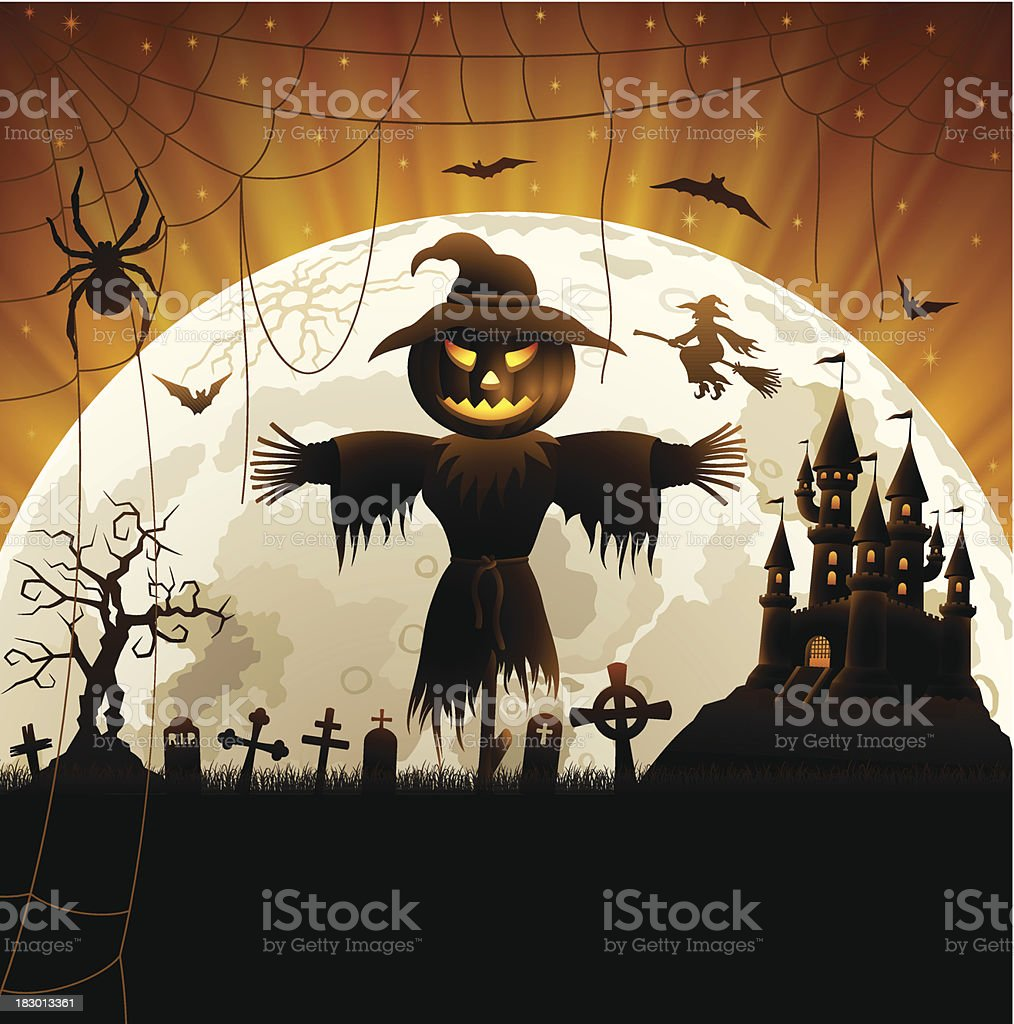 Halloween Night and Scarecrow royalty-free stock vector art