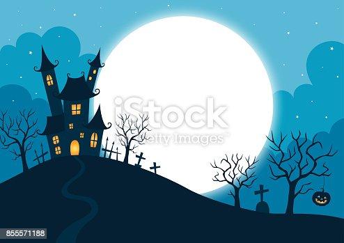 halloween,holiday,night,full moon,tree,pumpkin,blue,illustration
