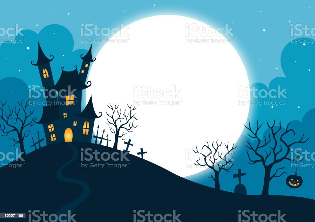Halloween night background vector art illustration