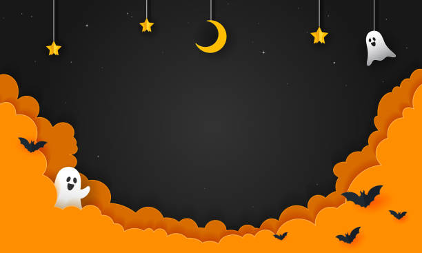 할로윈 밤 배경 벡터 그림입니다. 밤 하늘, 종이 아트 스타일과 유령 유령 - halloween stock illustrations
