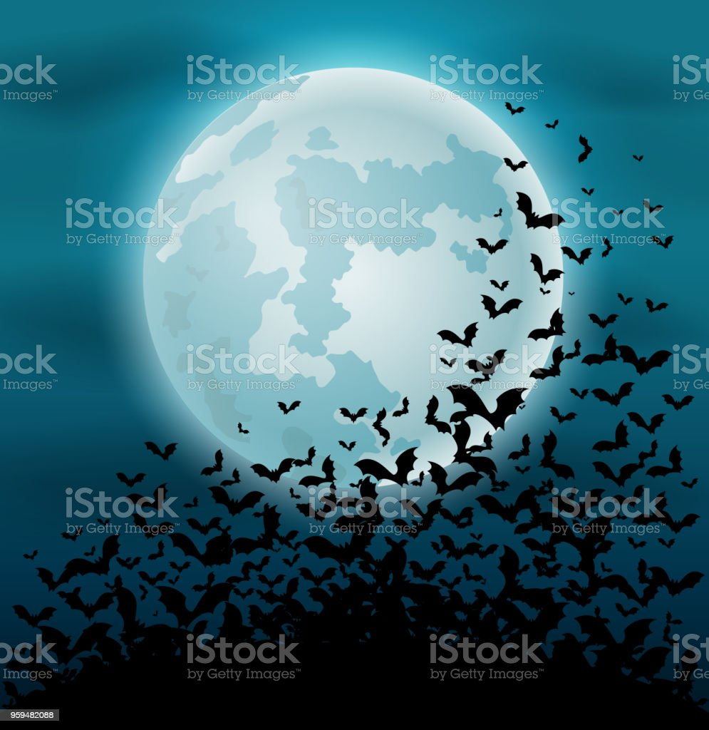Halloween night background with bat and full moon vector art illustration