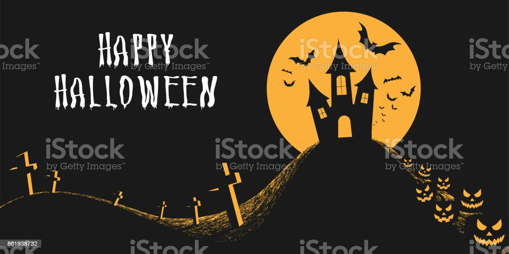 halloween night background with castle full moon scary pumpkins bats
