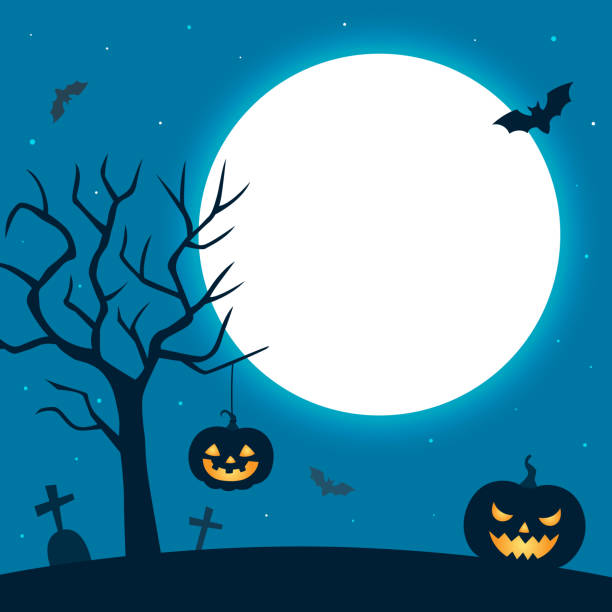 Halloween night background with pumpkin and moon Cemetery,night,landscape,tree,pumpkin,full moon,Halloween,holiday,background,illustration,design scary halloween scene silhouettes stock illustrations