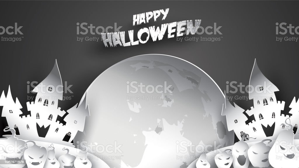 halloween night background with pumpkin haunted house castle and