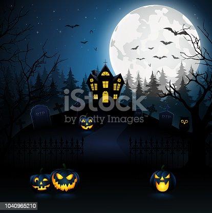 vector illustration of Halloween night background with pumpkin