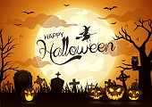 vector illustration of Halloween night background with pumpkin