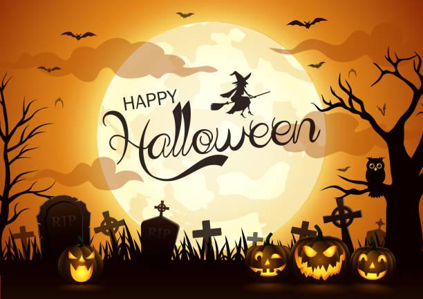 illustrazioni stock, clip art, cartoni animati e icone di tendenza di sfondo notturno di halloween con zucca - halloween