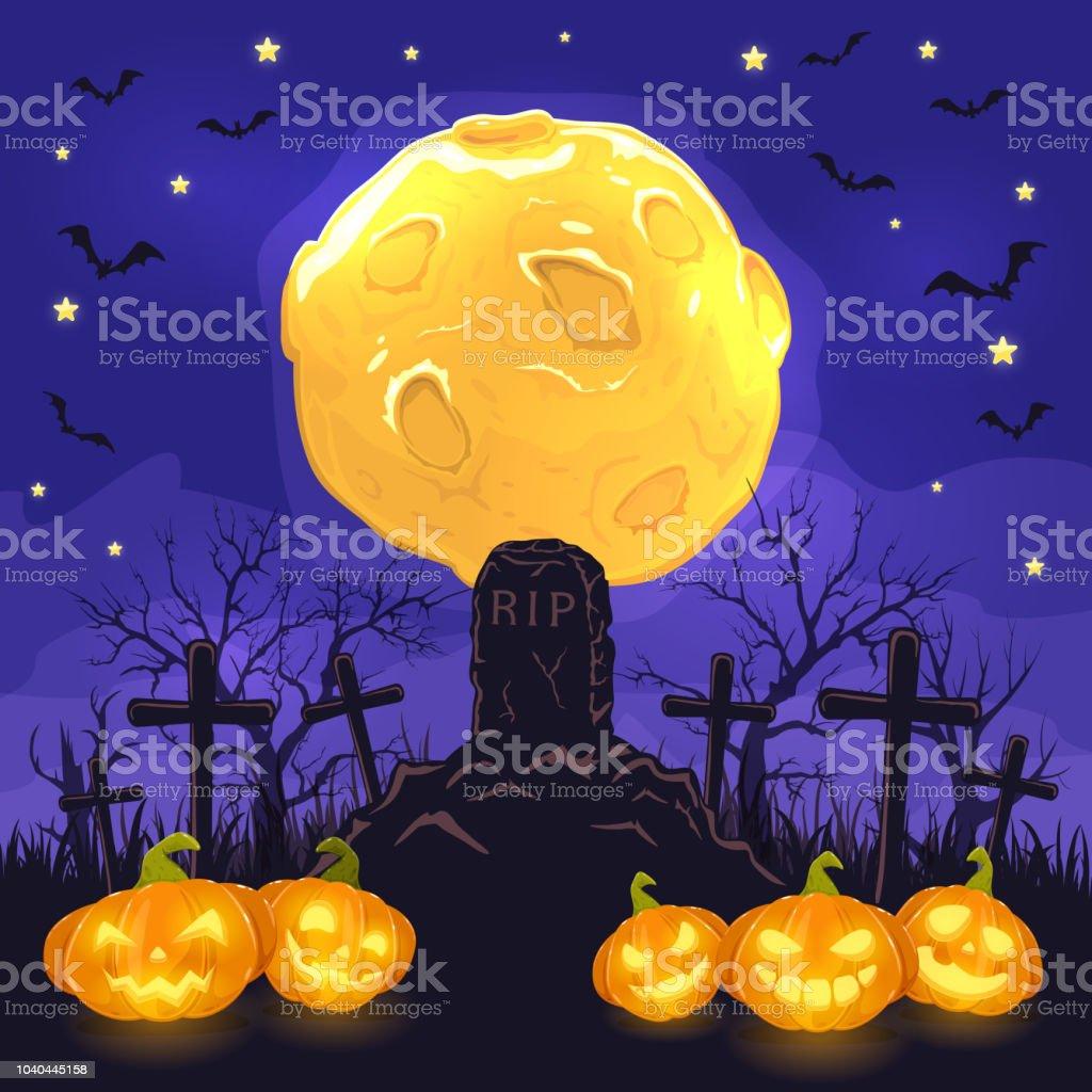 Halloween Kruis.Halloween Nacht Achtergrond Met Pompoenen Op Begraafplaats