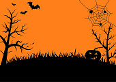 Halloween night background with pumpkins, trees ,bats and spider web,vector