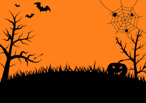 halloween gece arka plan ile kabak, ağaçlar, yarasalar ve örümcek ağı, vektör - halloween background stock illustrations