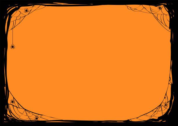 illustrazioni stock, clip art, cartoni animati e icone di tendenza di sfondo notturno di halloween con ragni e ragnatele. illustrazione poster vettoriale. - halloween