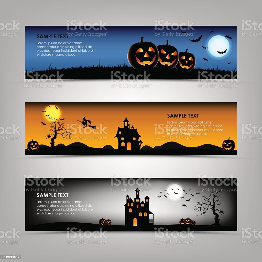 Halloween night banners template vector art illustration