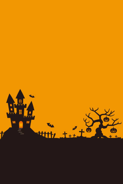 cadılar bayramı gecesi, siyah kale arka planı, illustration. - halloween background stock illustrations