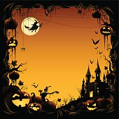 - pumpkin vine border with haunted castle and flying witch