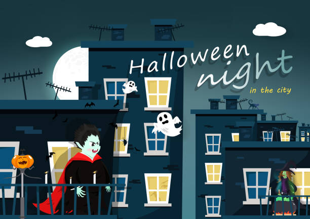 Halloween night, cartoon character, Dracula, witch, flat design, building city with full moon greeting poster card vector Halloween night, cartoon character, Dracula, witch, flat design, building city with full moon greeting poster card vector spooky halloween town stock illustrations